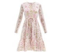 Bow-embellished Floral-print Silk-georgette Dress