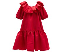 Oversized Ruffled V-back Taffeta Midi Dress