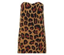 Strapless Leopard-pattern Sequin Mini Dress
