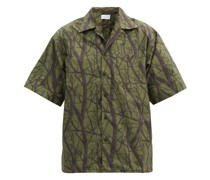 Practice Tree-print Cotton-poplin Shirt