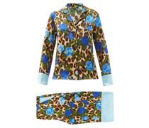 Leopard And Floral-print Silk-satin Pyjamas