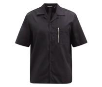 Zip-pocket Cotton-poplin Short-sleeved Shirt