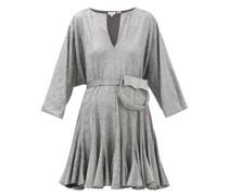 Ryan Belted Glitter-jersey Mini Dress