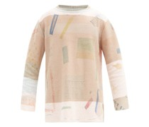 Abstract-print Raw-edge Sweater