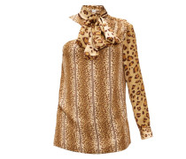 Leopard-print Pussy-bow One-shoulder Satin Top