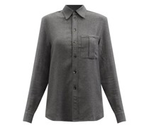 Patch Pocket Cashmere And Silk-blend Twill Shirt