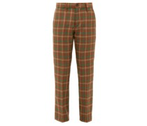 High-rise Checked Wool Trousers