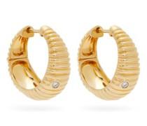 Ridged Diamond & 9kt Gold Hoop Earrings