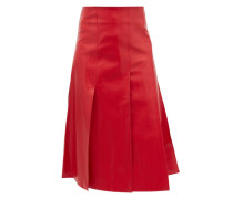 Side-slit Faux-leather Skirt