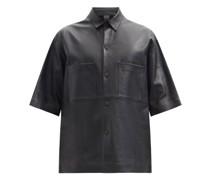 Oversized Patch-pocket Leather Shirt