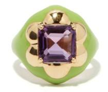 Floral Disco Amethyst, 9kt Gold & Enamel Ring