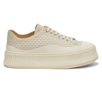 Ribbed-sole Woven-leather Trainers