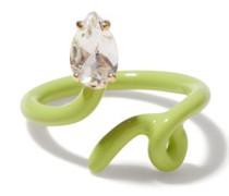 Baby Vine Tendril Crystal, 9kt Gold & Enamel Ring