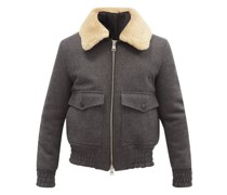 Shearling-collar Wool-blend Bomber Jacket
