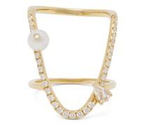 U Diamond, Sapphire, Pearl & 18kt Gold Ring