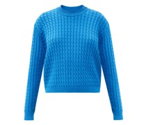 Cabled Round-neck Cotton Sweater