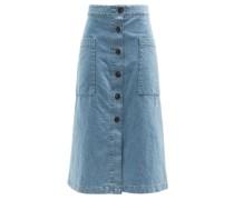 Patch-pocket A-line Denim Skirt