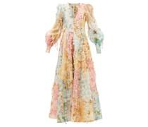 Tempo Floral-print Patchwork Linen-blend Dress