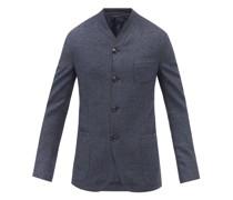 Collarless Wool And Cashmere-blend Hopsack Blazer