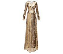 Stardust Plunge-neck Sequinned Gown