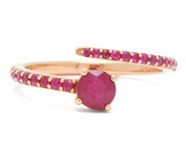 Grass Seed Ruby & 18kt Rose Gold Ring
