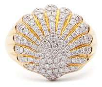 Diamond & 18kt Gold Shell Ring