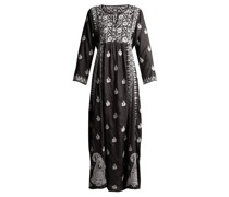 Floral-embroidered Silk Dress