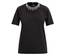 Beaded Cotton-jersey T-shirt