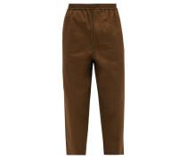 Drawstring-waist Cropped Cotton-poplin Trousers