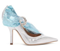 Crystal-embellished Lamé & Pvc Pumps