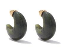 Donut Jade & 18kt Gold-vermeil Hoop Earrings