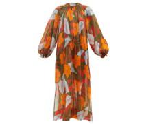 Oleander Shirred Hibiscus-print Ramie Maxi Dress