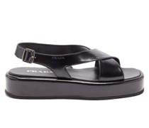 Crossover-strap Leather Flatform Sandals