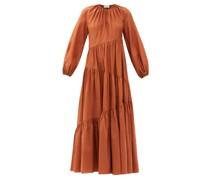 The Asymmetric Tiered Cotton-blend Maxi Dress