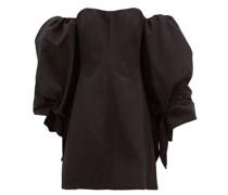 Smoky Detachable-sleeve Cotton-blend Mini Dress
