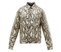 Mojave Snakeskin-print Faux-leather Jacket