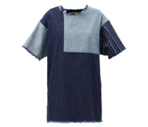 Patchwork Upcycled-denim Mini Dress