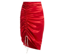 Gathered Silk-satin Pencil Skirt