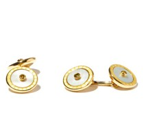 Sapphire, Mother Of Pearl & 18kt Gold Cufflinks