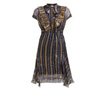 Metallic Striped Silk-blend Chiffon Dress