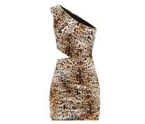 One-shoulder Leopard-print Jersey Mini Dress