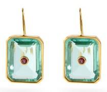 Tile Quartz, Rhodolite & Gold-plated Earrings