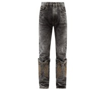Western-cuff Embroidered Jeans