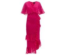 Rose Ruffled Polka-dot Silk-blend Dress