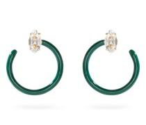 Tendril Crystal, Enamel & 9kt Gold Earrings