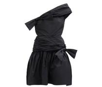 Meredith Bow One-shoulder Taffeta Mini Dress