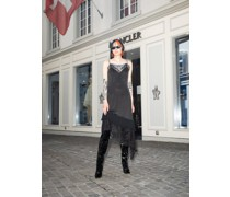 Asymmetric Lace-trimmed Satin Dress