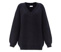 Oversized V-neck Chunky Wool-blend Sweater