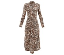 Exaggerated-shoulder Leopard-print Silk Dress