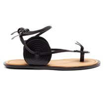 Disc Wraparound Leather Sandals